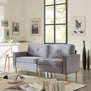 194x76x90cm 3-Sitzer Sofa Couch für Wohnzimmer Gemütlich Morderne Couch mit dezenten Designelementen Federkern und Loser Rücken Grau