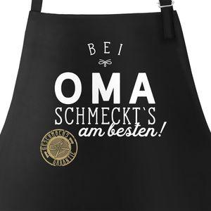 Grill-Schürze Küchenschürze mit Spruch Bei Oma schmeckt`s am besten grillen kochen Baumwoll-Schürze Küchenschürze Moonworks® schwarz unisize
