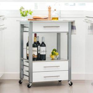Excellent Houseware Küchenwagen MDF Weiß