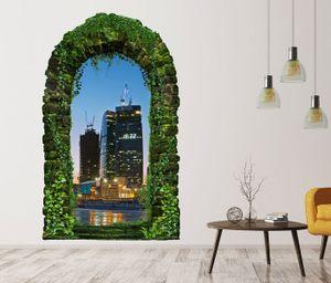 3D Wandtattoo Garten Tor Dschungel Skyline Moskau Russland Stadt Kreml Pflanzen Tür Gewölbe Wand Aufkleber Wandsticker 11FB241, Größe in cm:55cmx90cm