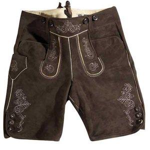 Lederhose kurz dunkelbraun Gr. 56 - Trachten Lederhosen