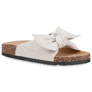 Mytrendshoe Damen Sandalen Pantoletten Schleifen Hausschuhe 826314, Farbe: Creme, Größe: 41