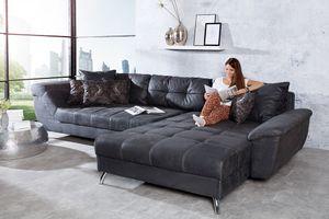 Design Ecksofa GENESIS 360cm vintage grau Microfaser inkl. Kissen Couch Wohnlandschaft Ottomane beidseitig aufbaubar