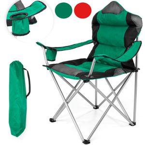 TRESKO Campingstuhl Grün faltbar bis 150 kg | Angelstuhl Faltstuhl Klappstuhl mit Armlehnen und Getränkehalter