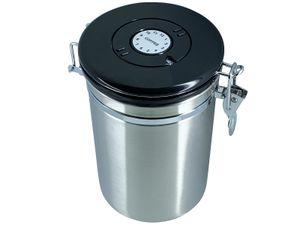 scarlet espresso | Kaffeedose »Ermetica« aus Edelstahl luftdicht - Vorratsbehälter Kaffeebehälter für Kaffeebohnen und mehr, Größe:500 Gramm, Farbe:Silber