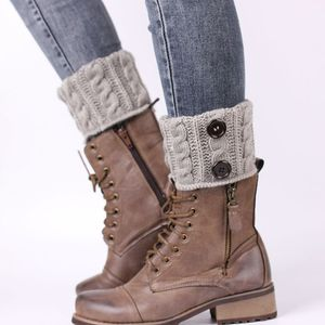 Damen Gestrickte Stulpen Socken Kurzer Strickstulpen Stiefelsocken Grau 16cm Kein Muster