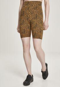 Urban Classics Damen Ladies High Waist AOP Cycle Shorts TB2813, color:natural leo, size:S