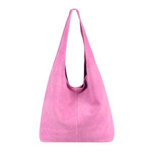 ITALY DAMEN LEDER TASCHE Handtasche Wildleder Shopper Schultertasche Rosa