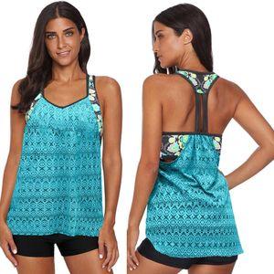 Women Swimwear Splicing Hollow Out Swimsuit with shorts Two Piece Swimsuit Set Größe:M,Farbe:Grün