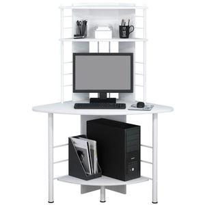 SixBros. Eckschreibtisch in weiß, platzsparender Computerschreibtisch, Winkelschreibtisch, 113 x 65 cm B-1010/2076