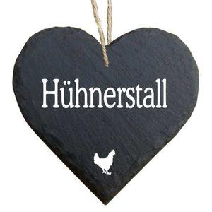 Herz Schieferherz Schiefer Schieferschild 10 x 10 cm Hühnerstall schwarz Dekoschild Wandschild Schild Stein Geschenk