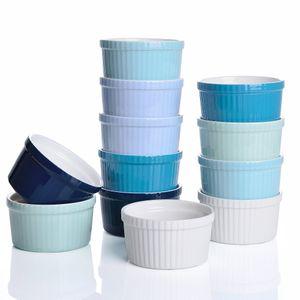 LOVECASA Förmchen Porzellan, 12 teilig Muffins Förmchen Set Schälchen für Soufflé, Creme Brulee, Fondants, Dessert und Obst