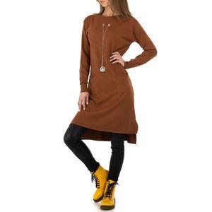 Ital-Design Damen Pullover & Strick Longpullover Braun