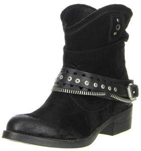 BULLBOXER Damen Stiefeletten Echtleder schwarz, Größe:36, Farbe:Schwarz