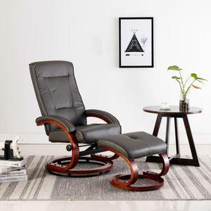 Möbel® Fernsehsessel Relaxsessel,Liegesessel,TV Sessel,Relax Liegestuhl Komfortabel Für Wohnzimmer mit Fußhocker Grau Kunstleder🌈2527