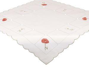 Betz Tischdecke Mitteldecke Stickerei mit Blumenmotiv Größe 80x80 cm Farbe creme