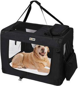 MC Star Leichte Transportbox für Haustiere mit Fleece-Matte Tragbar Faltbar Hundekäfig - Schwarz, L
