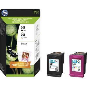 HP 301 Tintenpatrone - Schwarz, Cyan, Magenta, Gelb Original - Tintenstrahl - Hoch Kapazität - 190 Seiten Schwarz, 165 Seiten Dreifarbig - 2er Pack