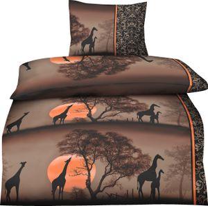4 teilige Bettwäsche 135x200 cm Afrika Giraffen braun orange Microfaser Garnitur