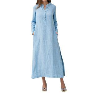 Frauen Casual Long Dress Long Sleeves Seitentaschen Schlitz Vintage Maxi Robe Maxikleid  Hellblau XL