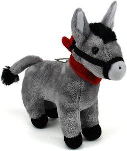 Esel ca. 28 cm mit rotem Halstuch, Supersüß stehender, Grauer Esel, Kuscheltier, Stofftier, Plüschesel