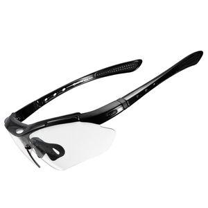 ROCKBROS Photochromatische Sportbrillen Sonnenbrille UV400 Fahrradbrille PC-Linse Schwarz
