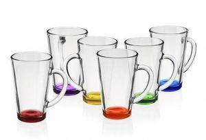 6 Latte Macchiato Gläser 300ml mit Henkel + 6 Löffel Kaffeegläser Teegläser (Boden Mix)