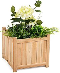 COSTWAY Blumenkasten Hochbeet Holz, Blumenbeet Blumentopf klappbar, Pflanzenbeete Blumentrog faltbar, Pflanzkasten Garten Frühbeet 38x38x35cm