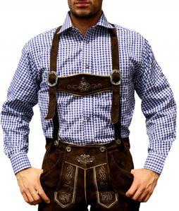 Trachtenhemd für Trachtenlederhosen Oktoberfest Trachtenmode Blau/karo 100% Baumwolle, Größe:XL