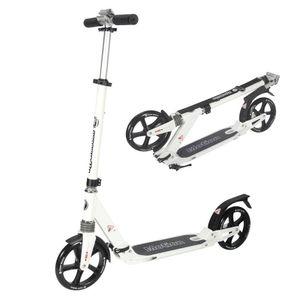 Tretroller Kickscooter für Erwachsene und Jugendliche Klappbar und Höhenverstellbar - City-Roller in Weiß - Max 100 kg