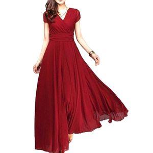 Plus Size Solid Color Frauen Party Kleid V Ausschnitt Kurzarm Slim Fit Maxi Kleid Rot XXL ALCYONEUS1
