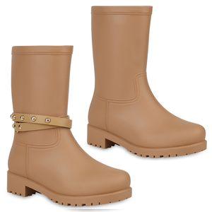 Mytrendshoe Damen Gummistiefel Nieten Metallic Stiefel Regen Schuhe 812770, Farbe: Khaki, Größe: 38