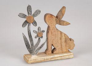 Formano Hase mit Blume 24 cm Dekoration Mangoholz Figur Metall Ostern