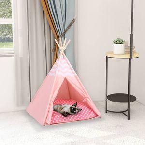 SIRUITON Katzen-Tipi-Zelt mit Tasche Pfirsichhaut Rosa 60x60x70 cm