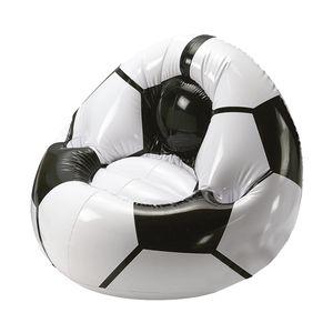 Aufblasbarer Sessel Fußball Big mit Getränkehalterung für 2 Getränke | Großer Luftsessel für Kinder max. 80 kg Ideales Fußball-Geschenk für Kinder & Erwachsene (schwarz/Weiss)