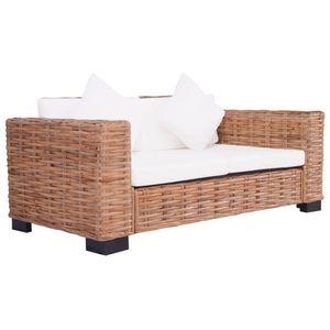 vidaXL 2-Sitzer Gartensofa Natürliches Rattan