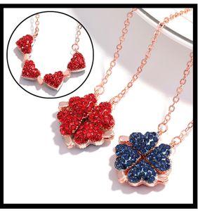 Faltanhänger Vierblättrige Klee-Halskette, Lucky in Love 2 in 1 Charm-Halskette, kann sich zwischen Herzen und Klee verwandeln - Rot und Blau