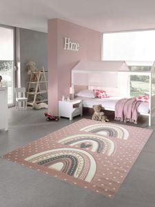 Kinderzimmer Teppich Spielteppich gepunktet Herz Regenbogen Design - rosa grau Größe - 120x170 cm