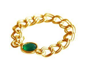 Damen Ring Vergoldet Smaragd Grün Beweglich Geschmeidig