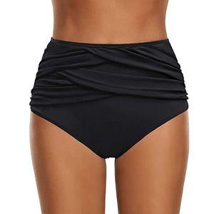 Women High Waist Ruched Bikini Bottoms Tummy Control Swimsuit Briefs Pants Größe:XXL,Farbe:Schwarz