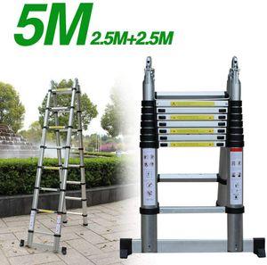 Teleskopleiter 5M Alu Klappleiter Multifunktionsleiter aus hochwertiges Aluminium ausziehbare Leiter Teleskop-Design 150 kg Belastbarkeit