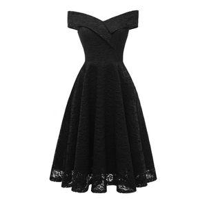 Neue Frauen Stickerei Vintage Spitzenkleid Weg Von der Schulter Kurzarm Casual Abend Elegante Prinzessin Party Kleid 2XL