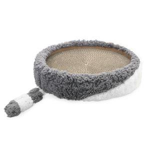 Navaris Katzenkratzbett Kratzpappe Kratzbett für Katzen - Kratzmöbel Spielzeug zum Kratzen - Katzenkratzmatte Kratzlounge Kratzmöglichkeit