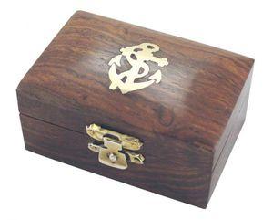 Maritime Holzbox mit Messingeinlage, Box aus edlem Sheesham Holz