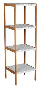 MSV Badregal Bambus mit 4 Ablagen Badezimmerregal Standregal Küchenregal Aufbewahrung
