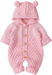 Neugeborenes Baby Ohr Kapuze Gestrickte Strampler Overall Winter wärmer Schneeanzug für Jungen Mädchen  66cm