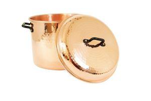 'CopperGarden®' Kupfertopf 8L, (24 cm) gehämmert mit Griffen (Eisen) & Deckel