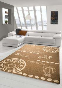 Teppich Modern Flachgewebe Sisal Optik Küchenteppich Küchenläufer Coffee Braun Beige Größe - 80x200 cm