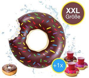 XXL Aufblasbarer braun angebissener Donut Schwimmring Schwimmreif + 1x Getränkehalter