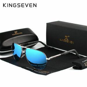 KINGSEVEN Aluminium Herren Sonnenbrille Polarisiert Fahren Uv400 Schutz Pilotenbrille-Blau Silber Grau
